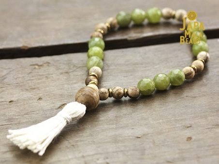 Green Garnet and Agarwood Mala