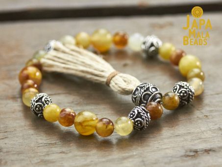 Flower Agate and Silver Mala Beads