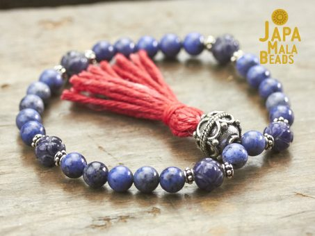 Dumortierite and Silver Mala Beads