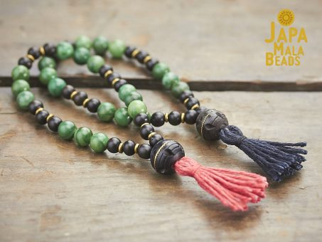 African Green Aventurine and Ebony Mala