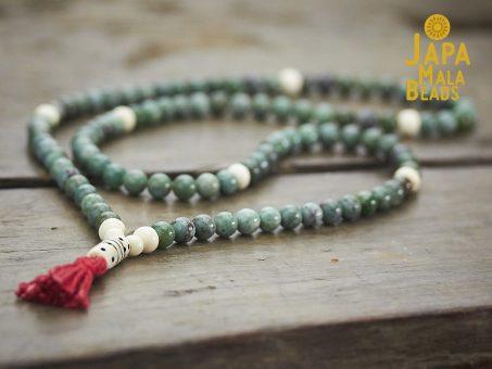 African Jade and Bone Full Mala