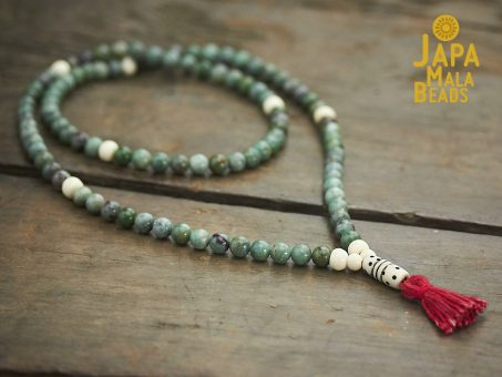 African Jade and Bone Full Mala
