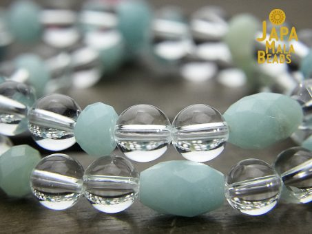 Crystal Quartz and Amazonite Wrist Mala