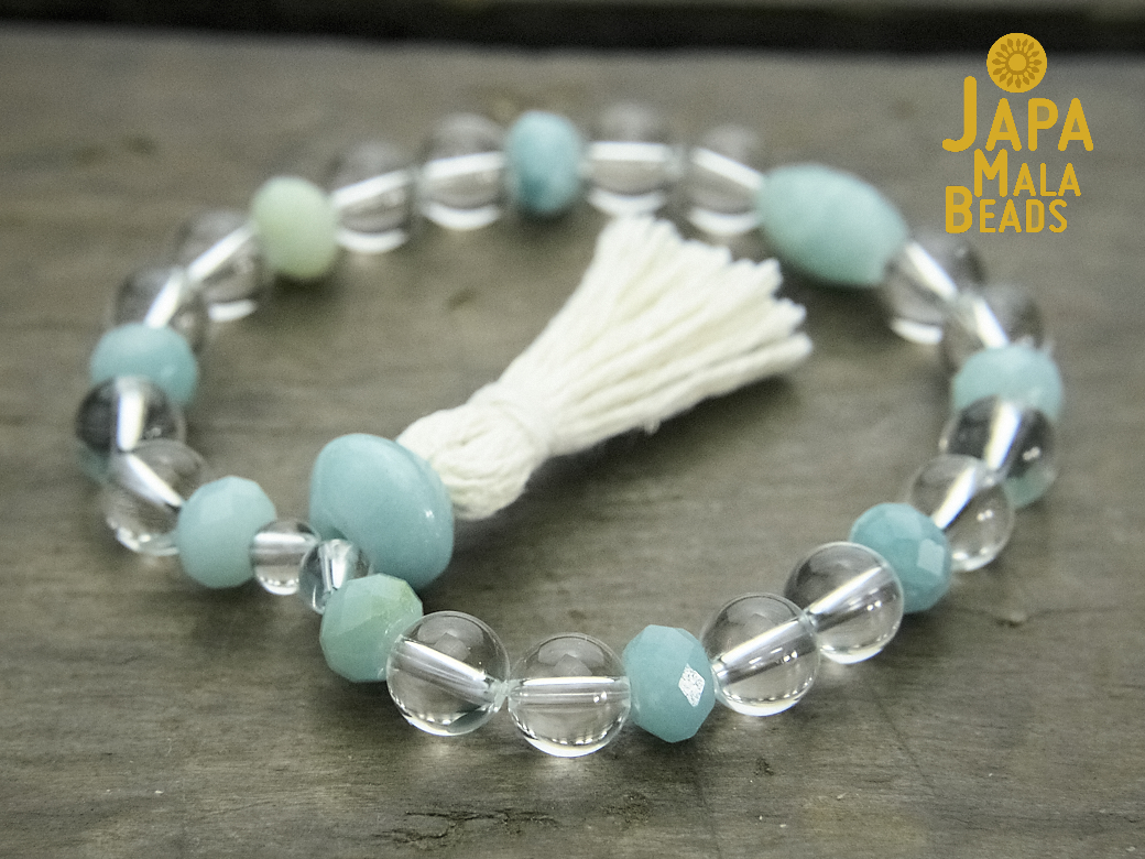 Crystal Quartz and Amazonite Bracelet Mala
