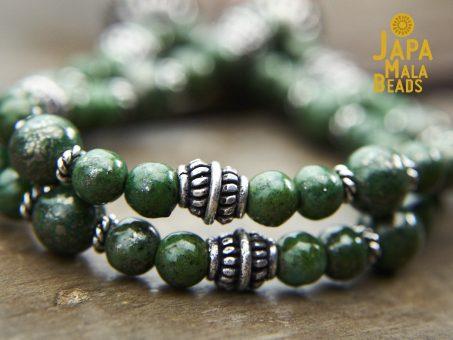 Green Pyrite and Silver Wrist Mala
