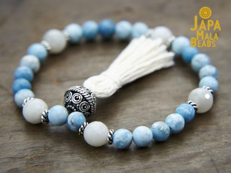 Larimar and Moonstone Mala