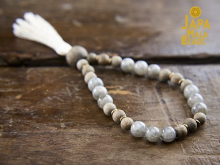 Labradorite and Silver Greywood Wrist Mala