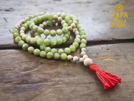 Green Garnet and Silkwood Necklace Mala