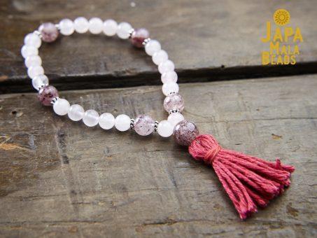 Rose Quartz and Cherry Quartz Wrist Mala