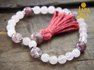 Rose Quartz and Cherry Quartz Wrist Mala