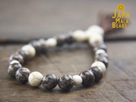 Brown Snowflake Jasper and Magnesite Wrist Mala