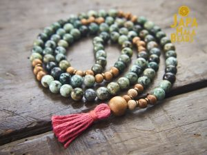 African Turquoise and Meranti Full Mala