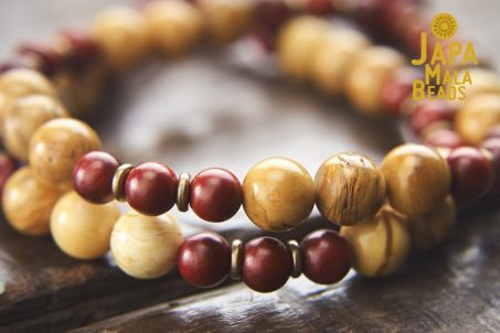 African Yellow Jasper and Dragon Blood Wood Wrist Mala Beads