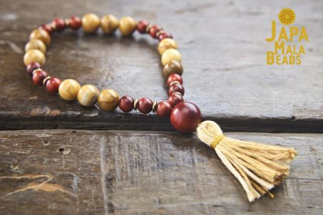 African Yellow Jasper and Dragon Blood Wood Hand Mala