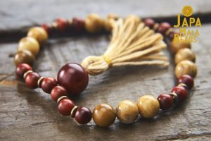 African Yellow Jasper and Dragon Blood Wood Bracelet Mala