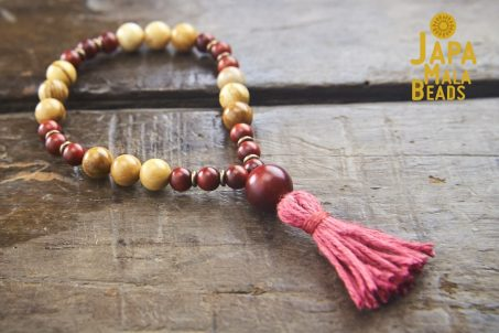 African Yellow Jasper and Dragon Blood Wood Wrist Mala