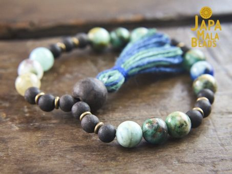 Chrysocolla and Ebony Wood Wrist Mala