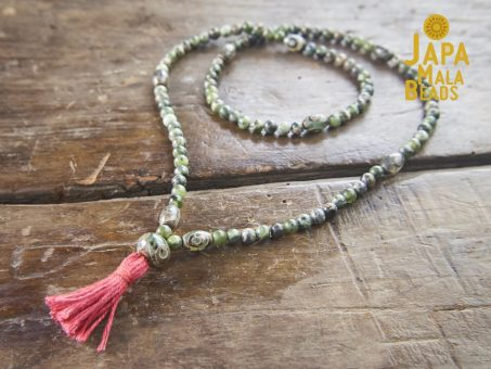 Green Jade and Dzi Agate Full Mala