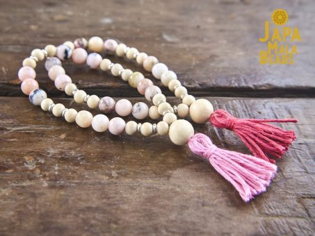 Pink Opal and Whitewood Wrist Mala