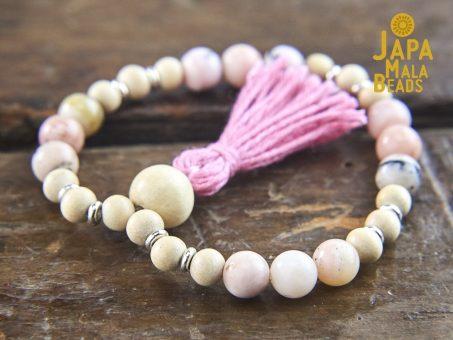 Pink Opal and Whitewood Wrist Bracelet Mala