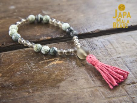 Frosted Smoky Topaz and Green Zebra Jasper Wrist Mala