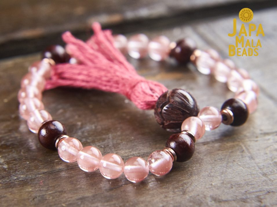 Cherry Quartz and Rosewood Bracelet Mala