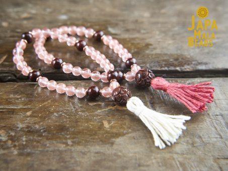 Cherry Quartz and Rosewood Bracelet Mala