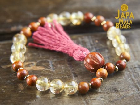 Citrine and Sibucao Wood hand Mala