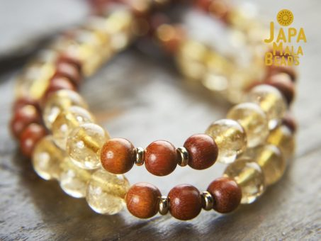 Citrine and Sibucao Wood Wrist Mala
