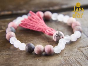 Frosted Rose Quartz and Rhodonite Bracelet Mala