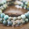 African Turquoise Olive Sandalwood Mala Beads
