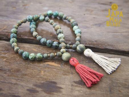 African Turquoise Olive Sandalwood Malas