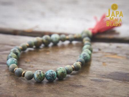 African Turquoise Olive Sandalwood Wrist Mala