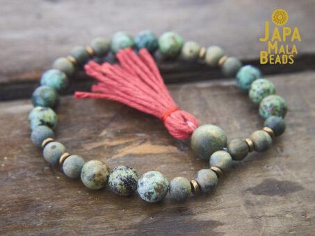 African Turquoise Olive Sandalwood Bracelet Mala