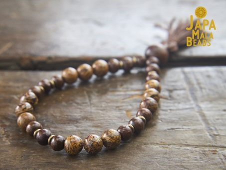 Elephant Skin Jasper and Taxus Wood Wrist Mala