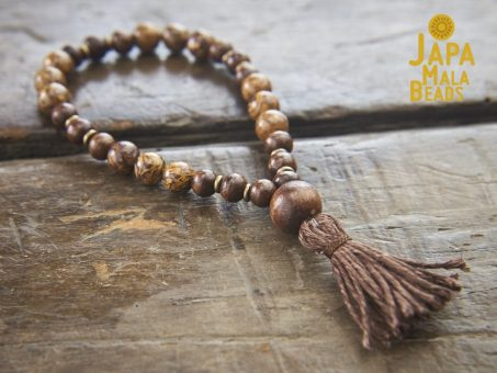 Elephant Skin Jasper and Taxus Wood Hand Mala