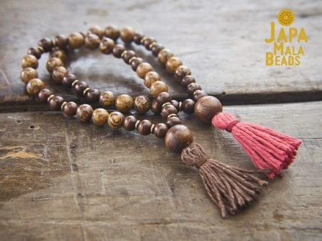 Elephant Skin Jasper and Taxus Wood Bracelet Malas