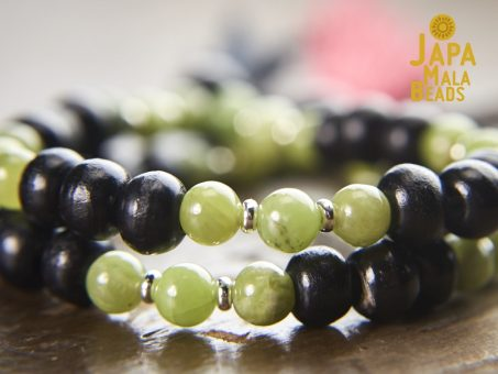 Black Horn and Green Garnet beads