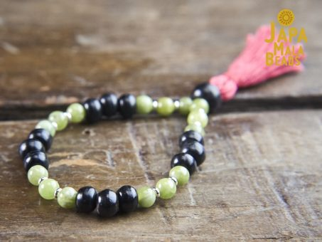 Black Horn and Green Garnet Bracelet mala