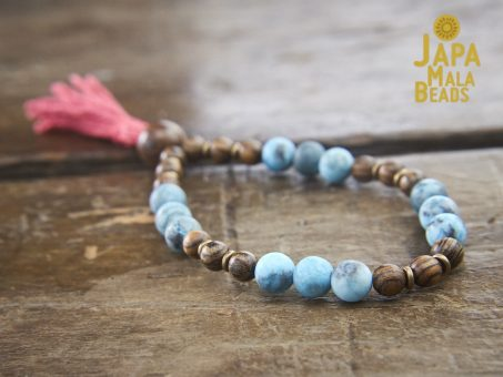 Matte Blue Zebra Jasper and Tigerskin Sandalwood Wrist Mala