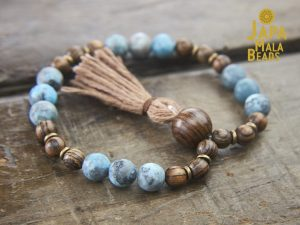 Matte Blue Zebra Jasper and Tigerskin Sandalwood Bracelet Mala