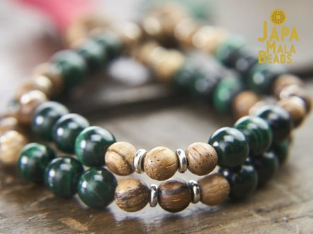 Malachite and Qinan Sandalwood Mala Beads