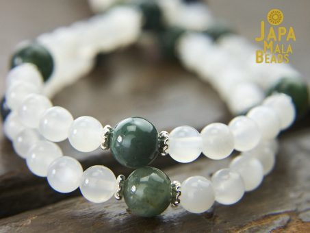 Moonstone and Moss Agate Mala Beads