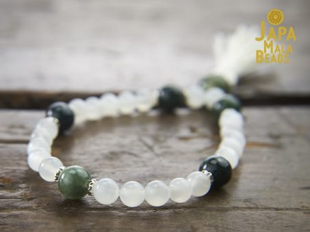Moonstone and Moss Agate Wrist Mala