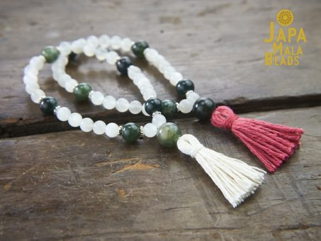 Moonstone and Moss Agate Malas
