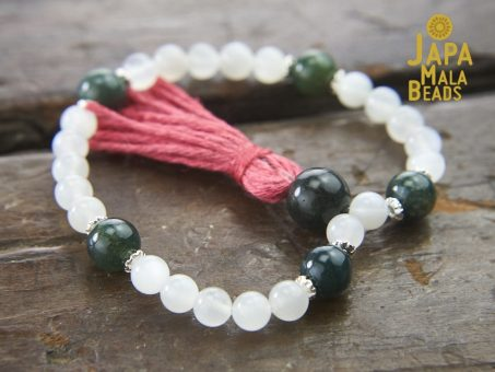 Moonstone and Moss Agate Bracelet Mala