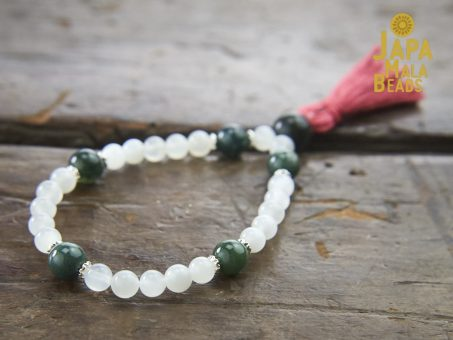 Moonstone and Moss Agate Hand Mala