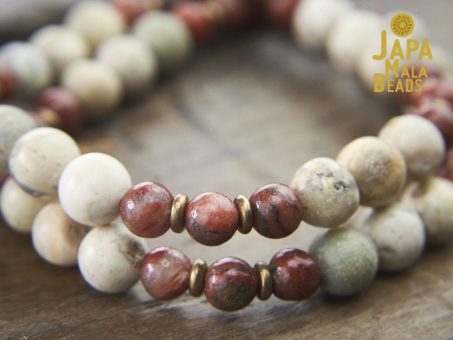 Red Sesame Jasper and White African Opal Wrist Mala