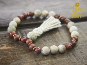 Red Sesame Jasper and White African Opal Bracelet Mala