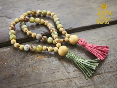 Red Serpentine and Jackfruit Wood Malas